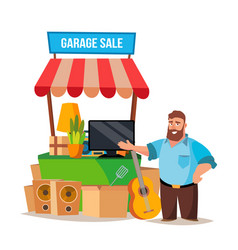 yard sale man having a garage sale vector image