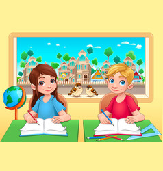 young students boy and girl in the classroom vector image vector image
