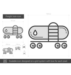 Freight train line icon vector