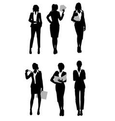 Six businesswomen silhouette vector
