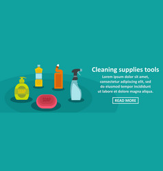Cleaning supplies tools banner horizontal concept vector