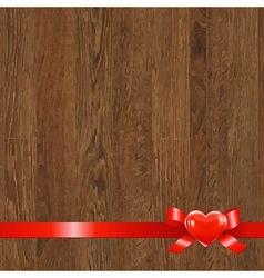 Wooden panel with red ribbon vector