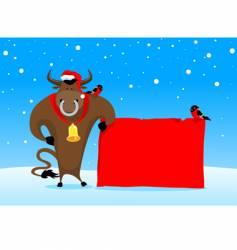 Christmas bull vector image