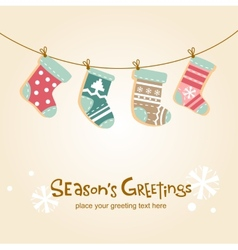 Christmas stockings greeting card vector