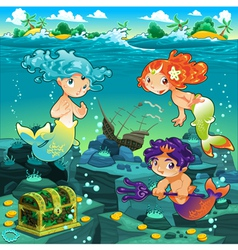 Seascape with mermaids and triton vector image