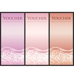Vertical voucher with victorian decoration in pink vector