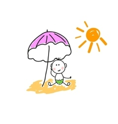 A child on the beach vector