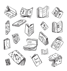 Open books drawing reading collection in black vector