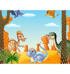 Cartoon of group dinosaur vector