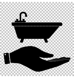 Bathtub sign save or protect symbol vector