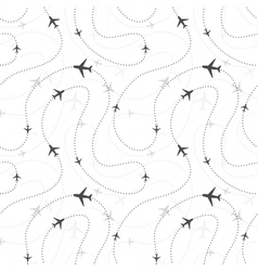 Airline routes with planes on white seamless vector image