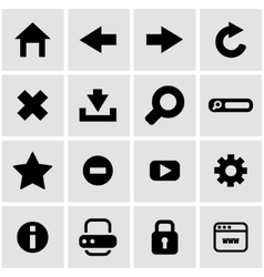 Black browser icon set vector