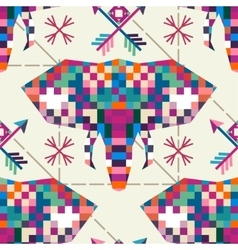 Animal head elephant triangular pixel icon vector