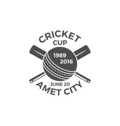 Cricket cup emblem and design elements vector image