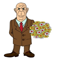 A man with a bouquet of flowers vector image vector image