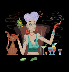 Bad grandmother with cigarette alcohol and vector