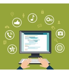 Blog management social media vector
