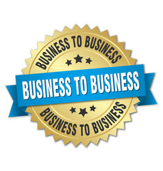 Business to business round isolated gold badge vector