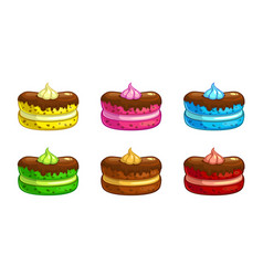 cartoon colorful cakes set vector image vector image