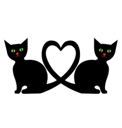 Cats with heart vector image vector image