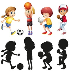 Children doing different kinds of sports vector image vector image