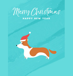 Christmas and new year holiday corgi dog card vector