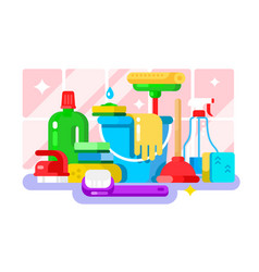 cleaning tools and detergent in bottle flat design vector image
