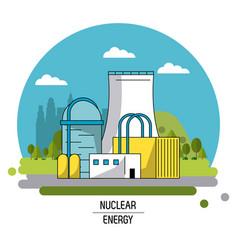 Color landscape image nuclear energy production vector