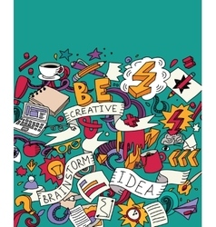 Creative doodles idea brainstorm color card vector image vector image
