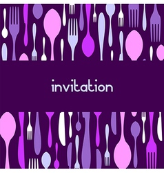 Cutlery pattern invitation violet background vector