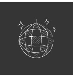 Disco ball drawn in chalk icon vector