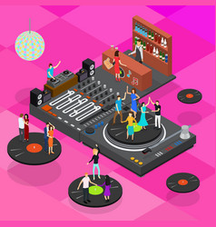 dj club bar concept 3d isometric view vector image vector image