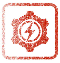 Electric cogwheel framed textured icon vector