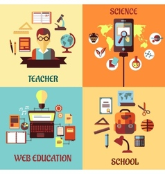 Flat concept for web education school science and vector
