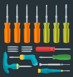 flat various screwdrivers set vector image vector image