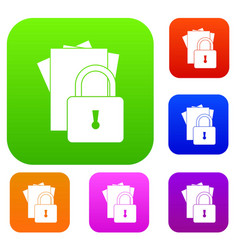Folders with padlock set collection vector