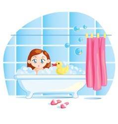 Funny little baby girl taking a bath vector