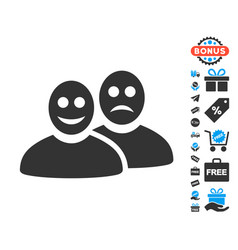 Glad and sad people icon with free bonus vector