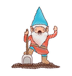 gnome with costume and shovel in colored crayon vector image