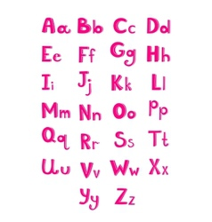 Hand drawn type font pink children alphabet vector