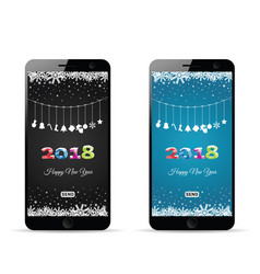 Happy new 2018 year on mobile phone vector