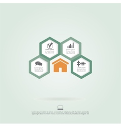 Infographic honeycomb elements with icons vector image vector image