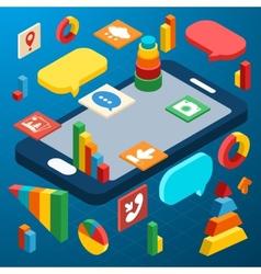 Isometric smartphone infographic vector image vector image