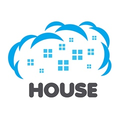 Logo windows of houses in the clouds vector