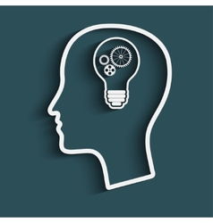 mans head with a light bulb vector image vector image