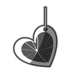 Monochrome silhouette love heart abstract figure vector