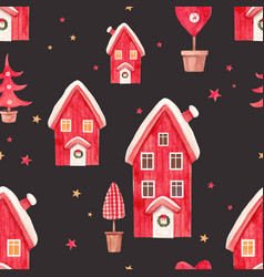 Nice watercolor christmas pattern vector