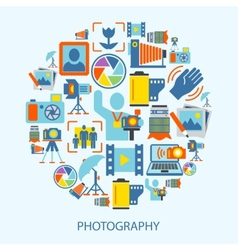 Photography icons flat vector image vector image