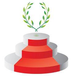 podium with laurel wreath vector image