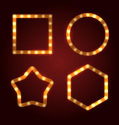Retro light bulb frames set vector
